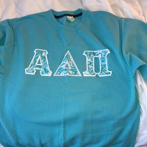 ADPi sweatshirt with Lilly Pulitzer letters